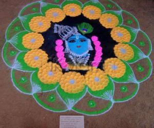 Krishna 3d rangoli