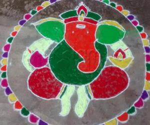 colorful ganesha rangoli