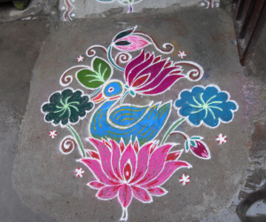 Duck on lotus rangoli