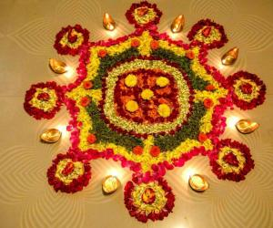Rangoli with flowers