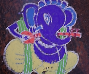 Rangoli: Ganesha with Sitar