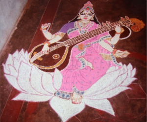 Rangoli: Goddess Saraswathy rangoli