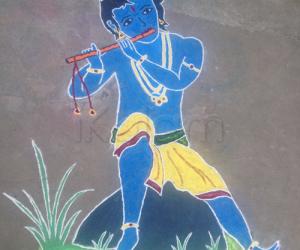 Rangoli: Krishna playing flute!!!