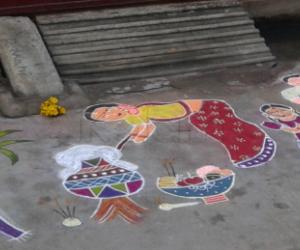 Pongal celebration rangoli