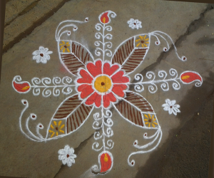 Rangoli design in orange