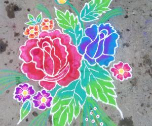 Rangoli: Flower freehand rangoli