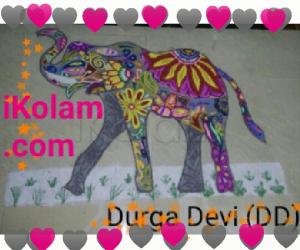 Rangoli: DD Elephant design kolam