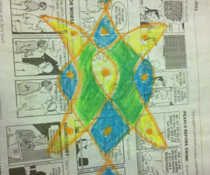 Rangoli: Chikku kolam on newspaper