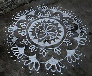 Rangoli design in white