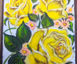 Rangoli: yellow roses
