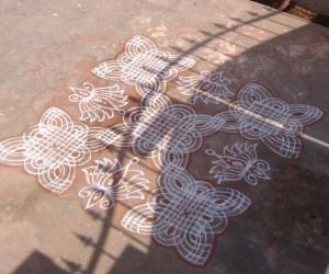 Fusion type rangoli with Red colours