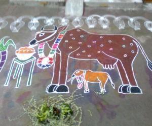 Rangoli: Mattu Pongal Kolam (Part-1)