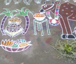 Rangoli: Mattu Pongal Kolam 1 (Part-2)