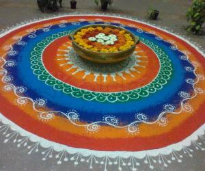 Free Hand Rangoli in our office