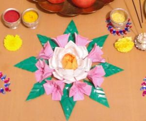 Rangoli: Origami flowers & Kundan Rangoli