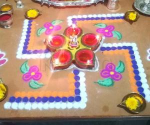 Swastik Rangoli for Ganesha Pooja