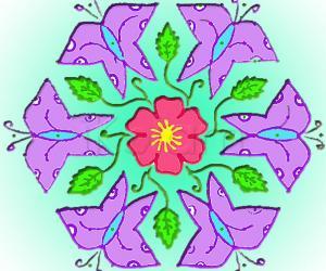 Rangoli: Flower & Butterflies