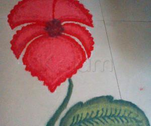 Rangoli: Hibiscus flower