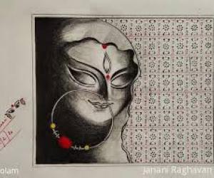 Drawing Notebook- Kolams/ Artwork- freehand drawing- Goddess- pencil shading...