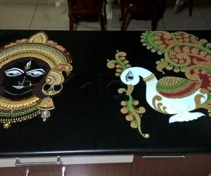 Rangoli: 2017-Navratri-7-Maa Durga and Her Swan