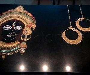 Rangoli: 2017-Navratri-8-2-Maa Durga's earrings-Bali