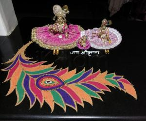 Rangoli: 2018- Janmashtami- birth of Lord Krishna and Mahamaya
