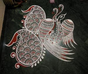 2020- Thai Ammaavaasai- Threshold Kolam- Peacock...