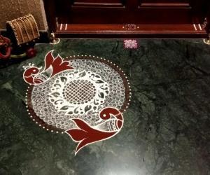 Rangoli: Home Kolams- Peacock