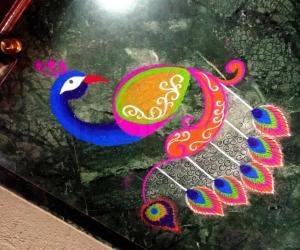 Rangoli: 2018- Home Kolams -peacock