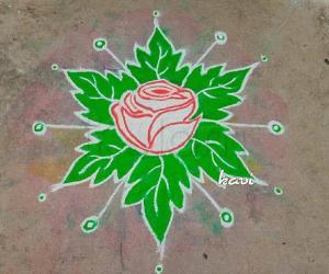 Rangoli: Navarathri Day 2: color code: green