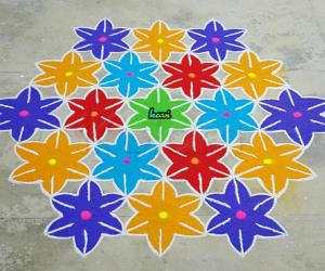Rangoli: Colorful flowers kolam