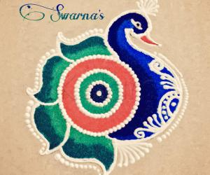 A peacock rangoli