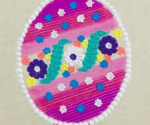 Oval shape colourful rangoli