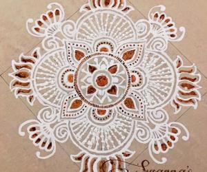 Freehand design in wet rangoli