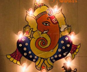 Ganesha rangoli with Deepam