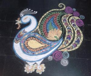 Rangoli: Multi colour peacock