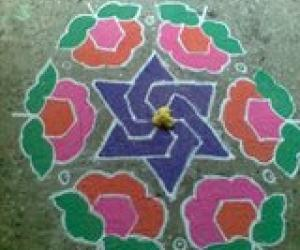 Rangoli: 15-8 in front of my office