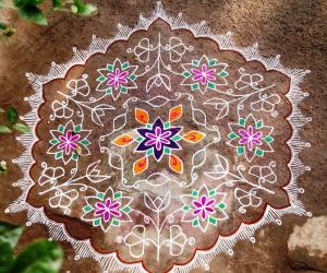 Flower carpet kolam