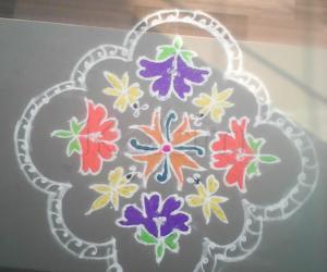 Rangoli: Flowers colourful