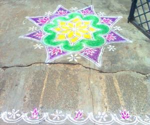 Free hand rangoli - lakshmi pooja