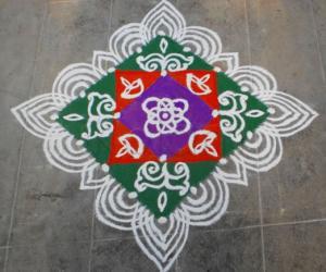Rangoli: Holi and Women's day spl kolam