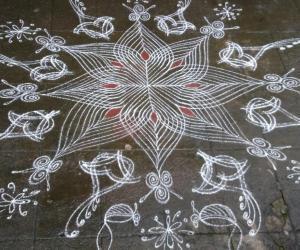 Rangoli: SkandShashti Kolam in my home