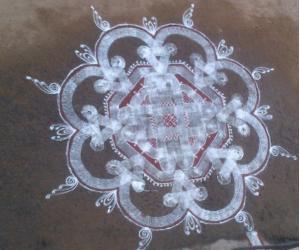 Rangoli: Padi kolam for Tamil new year