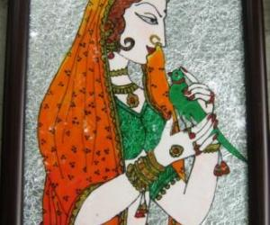 Rangoli: Women with Parrot