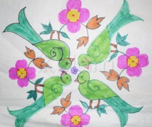 Parrot and flower Rangoli