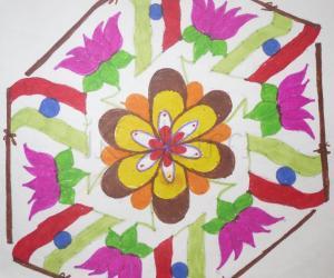 Rangoli: Flag and lotus rangoli