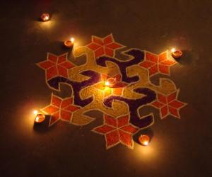 Diwali Ideal Rangoli with Diya