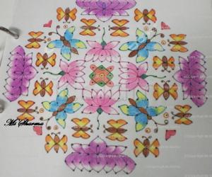 Rangoli: Lotus-Butterfly Kolam