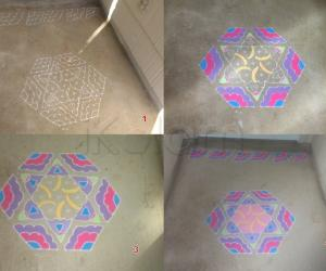 Rangoli: Umbrella  and Fan Dotted Rangoli