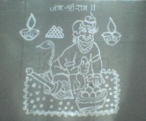 Rangoli: Kolam for Hanuman Jayanthi